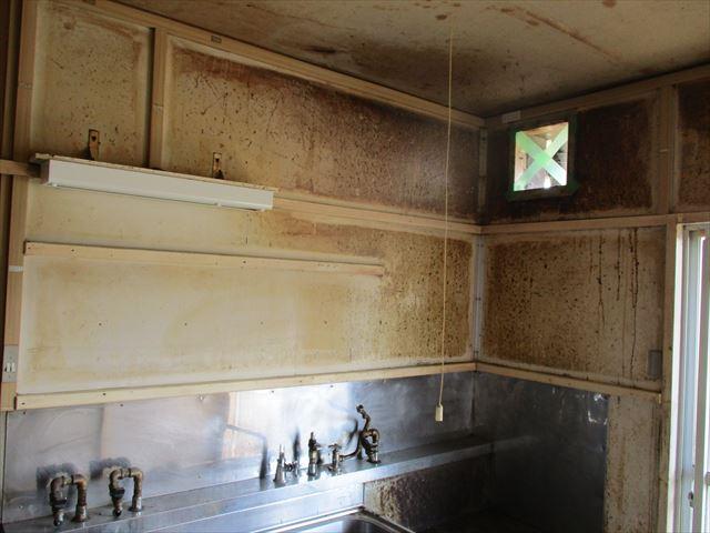 台所の壁の塗装前パネル