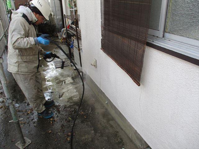 床の水洗い