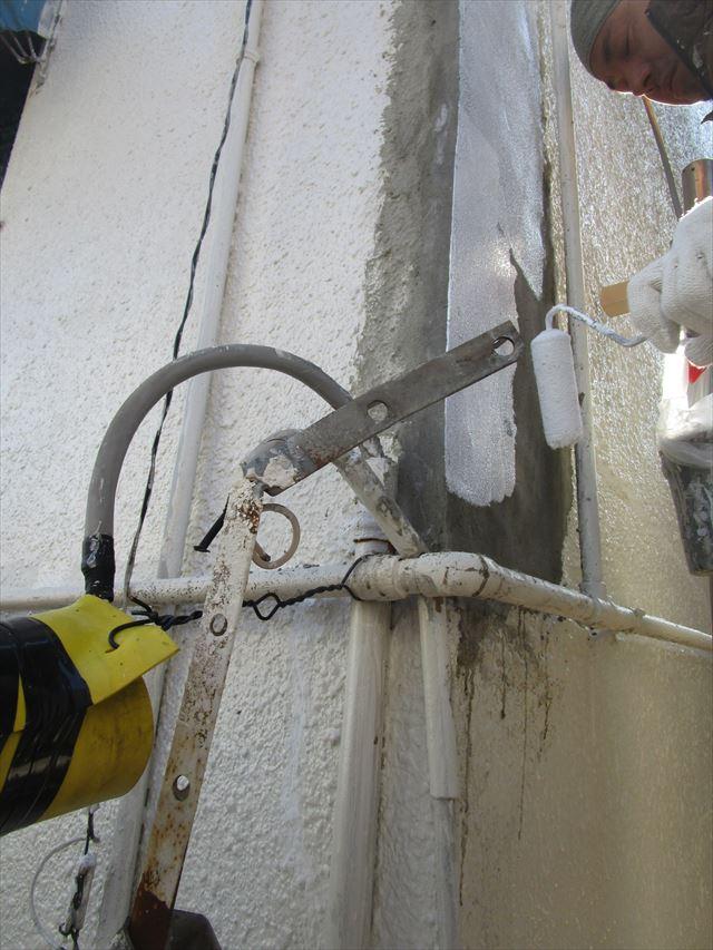 大阪市都島区で外壁の吹付け塗装工事をおこないました。