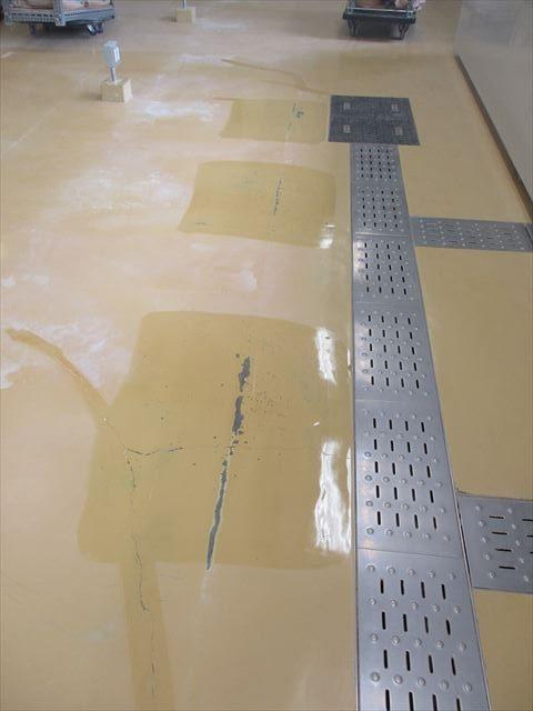 床の傷にプライマー塗布